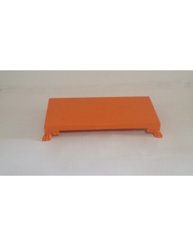 Bandeja retangular laranja  com pé resina