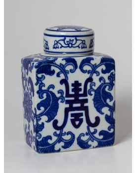 Pote Branco com desenhos em azul Tam P