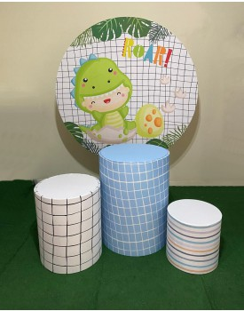 Kit Dino Baby - 3 capas cilindro  + 3 cilindros em compensado + capa painel redondo 1,50 x 1,50  + Estrutura para Painel redondo