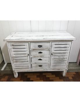 Cômoda madeira Branco Patinado com 4 gavetas