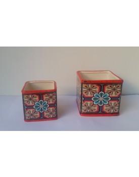 Conjunto de vasinhos decorativos flores Vermelho