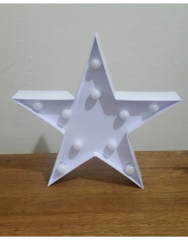 Estrela Luminosa de plástico Branca