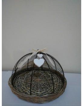 Bandeja rústica com suporte ferro e aplique coração Tam P