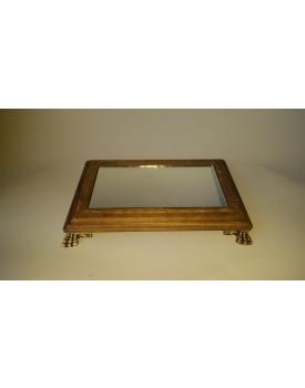 Bandeja Retangular de madeira com espelho e  pé resina