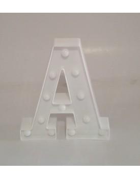 Letra A Luminosa de plástico Branca