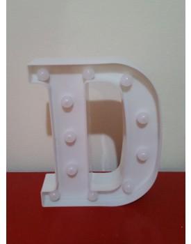 Letra D Luminosa de plástico Branca