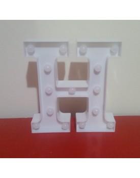 Letra H Luminosa de plástico Branca