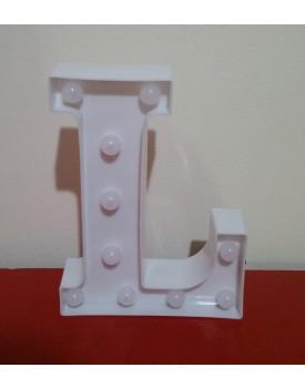 Letra L Luminosa de plástico Branca