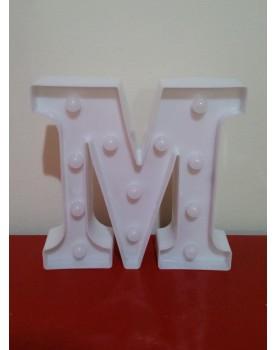 Letra M Luminosa de plástico Branca