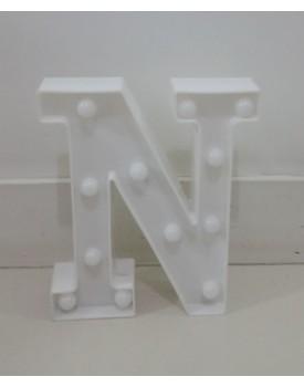 Letra N Luminosa de plástica Branca