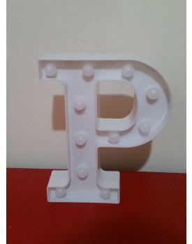 Letra P Luminosa de plástico Branca