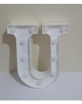 Letra U luminosa de plástica Branca
