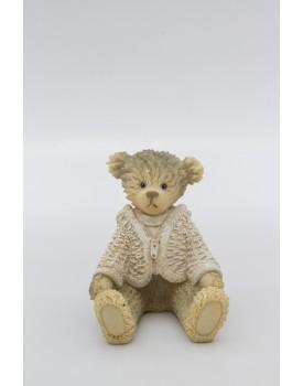 Urso sentado de resina casaquinho Branco