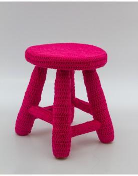 Banquinho crochê pink