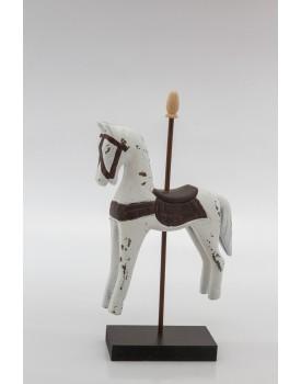 Cavalinho de resina Branco com Marron
