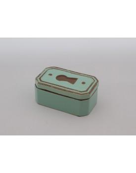 Caixa decorativa fechadura  de cerâmica azul
