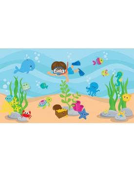 Tecido Fundo do Mar com mergulhador