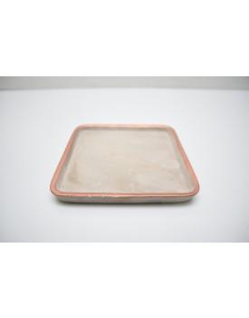 Prato quadrado cimento com borda cobre