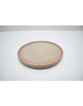 Prato redondo cimento com borda cobre