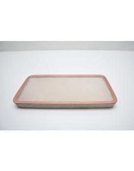 Prato Retangular cimento com borda cobre