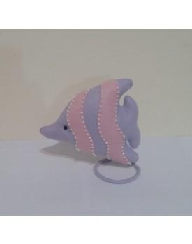 Peixinho lilás com rosa de feltro