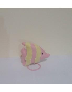 Peixinho rosa com amarelo de feltro