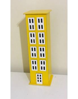 Prédio decorativo de madeira Amarelo Tam G
