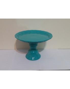 Prato alto com pé Azul Tiffany borda ondulada