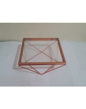 Bandeja quadrada de alumínio cobre  com vidro