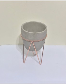 Vaso Cimento com suporte cobre Tam P