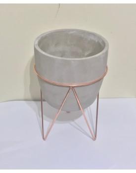 Vaso Cimento com suporte cobre Tam M