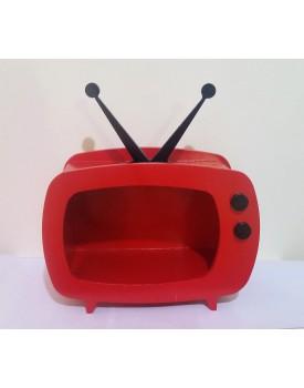 Televisão de mdf Vermelha