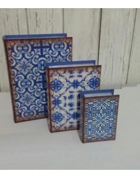 Kit de 3 livros azul e Branco