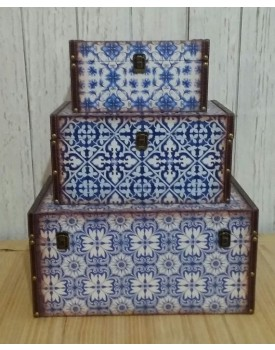 Kit de 3 baús azul com branco