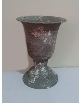 Vaso taça  metal cinza envelhecido Tam P