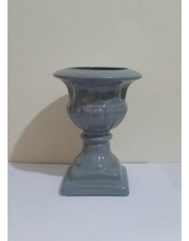 Vaso Cerâmica Athenas Cinza Tam M