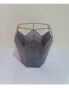 Cachepot Vaso Hexagonal Alto de alumínio Tam M