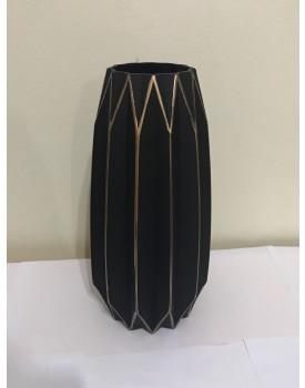 Vaso vidro preto com riscos dourados M