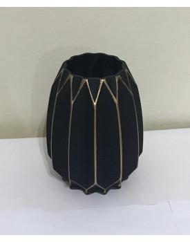 Vaso vidro preto com riscos dourados P