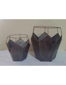 Cachepot Vaso Hexagonal Alto de alumínio Tam G